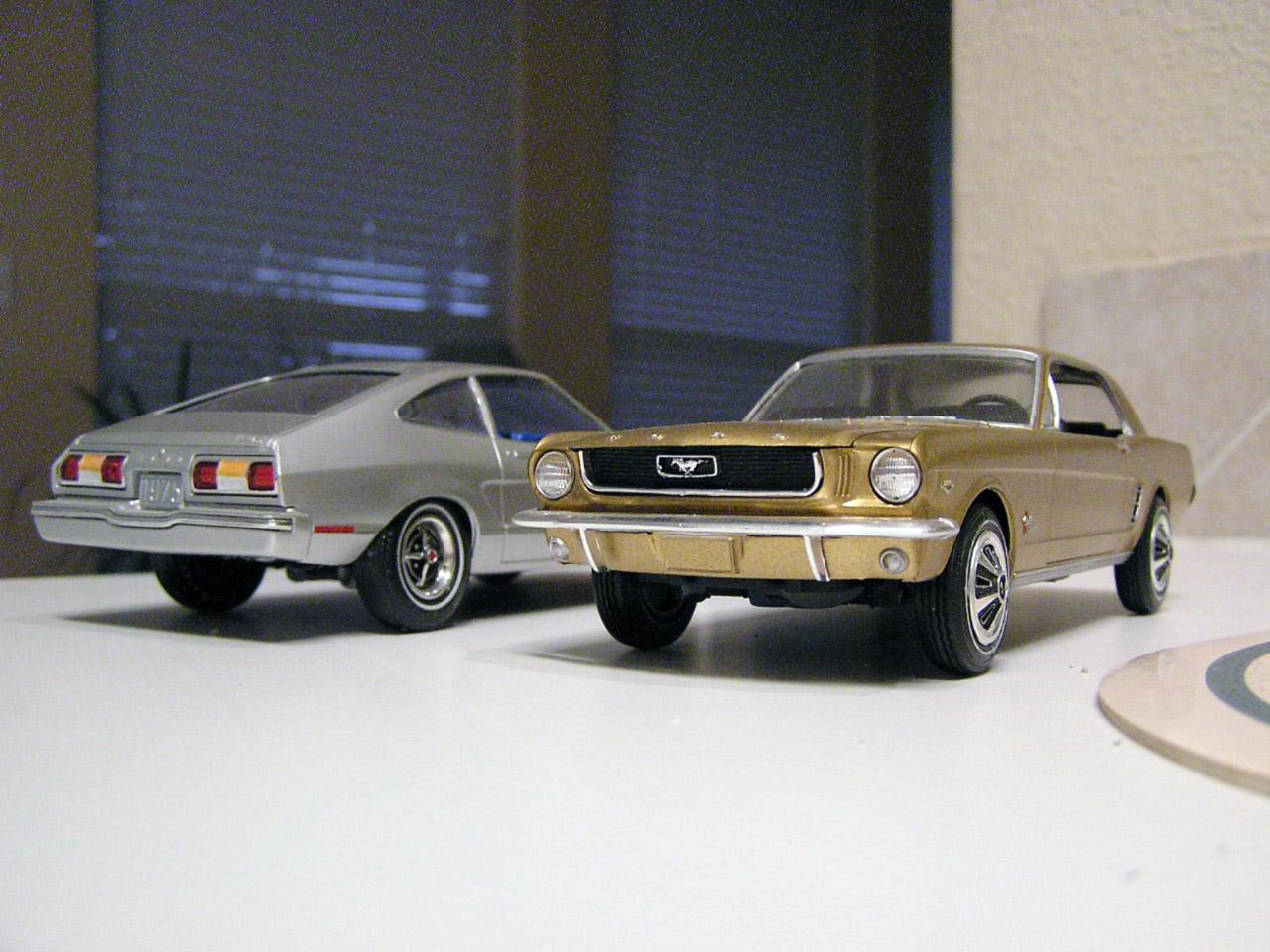 65 and 75 Mustangs.JPG