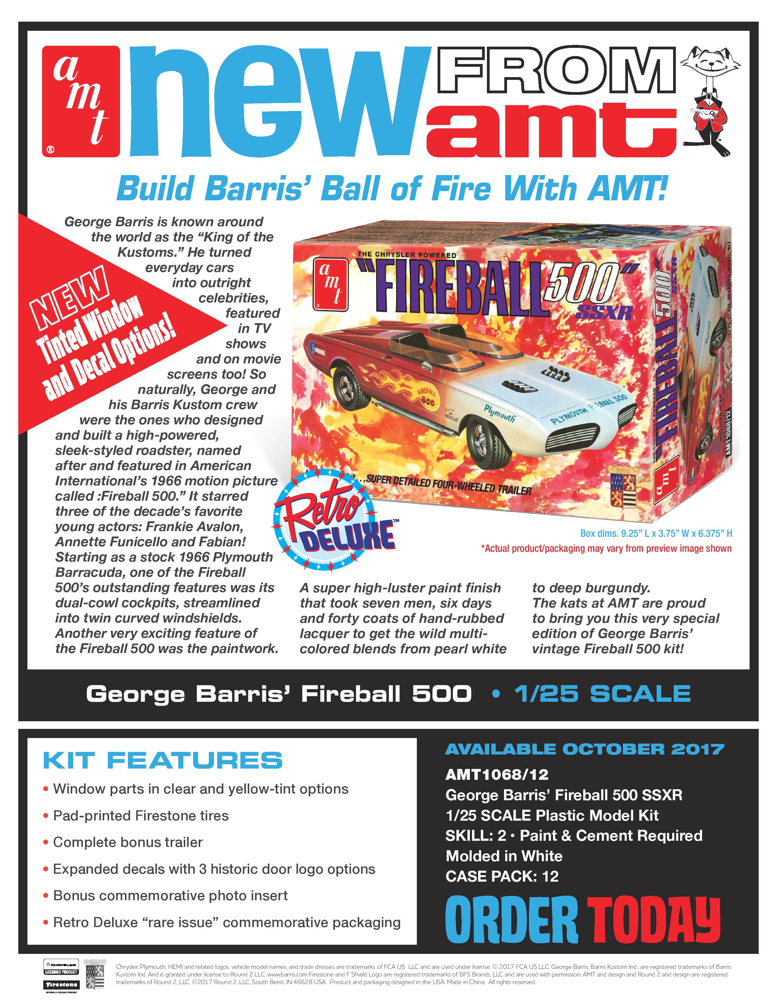 25 George Barris Fireball 500 in Commemorative Packaging AMT AMT1068 1 Red//White