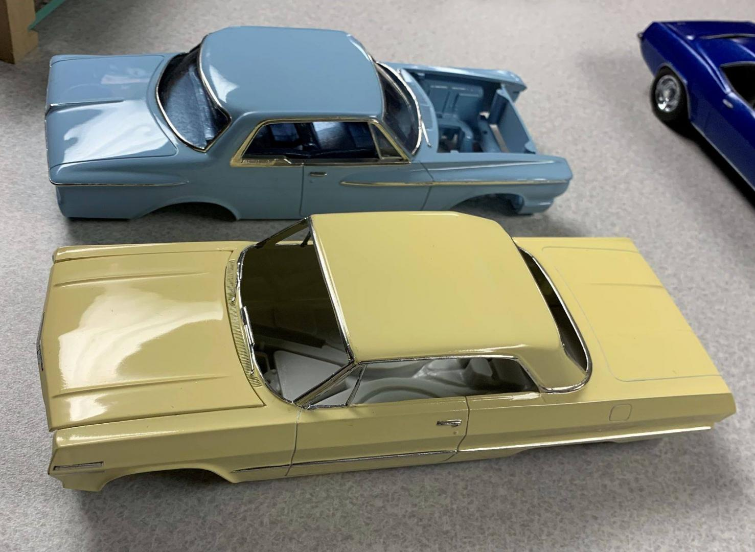 1962 Plymouth and 1963 Chev at model meeting April 28,2019,Check out the shine.jpg